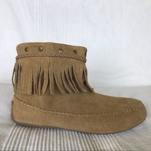 Lucky Brand 8 Fringe Studded Suede Booties